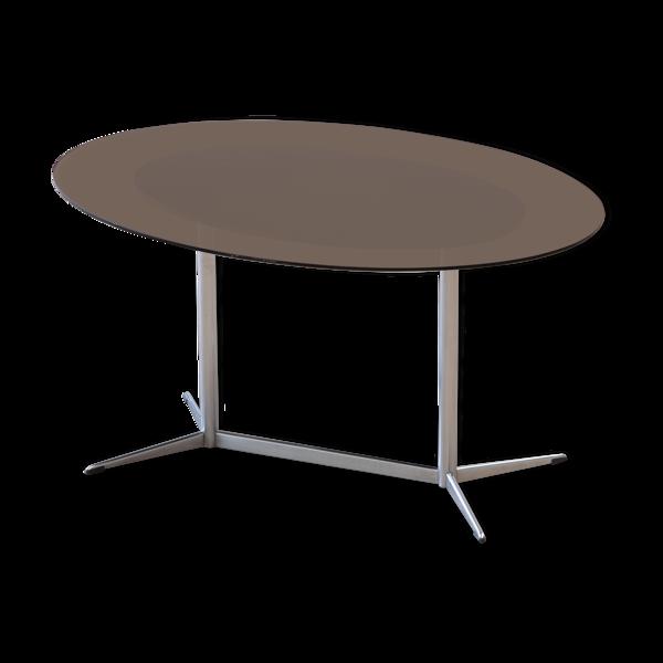 Table vintage chrome et verre 1970