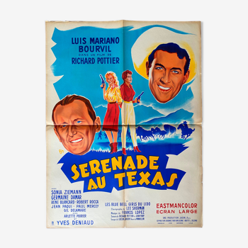 """Affiche cinéma originale """"Sérénade au Texas"""" Bourvil, Luis Mariano 60x80cm 1958"""