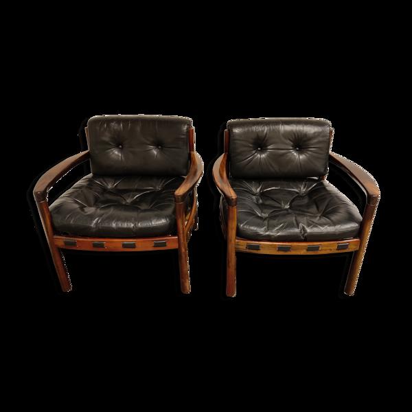 Paire de fauteuils en cuir par Sven Ellekaer pour Coja, années 1960