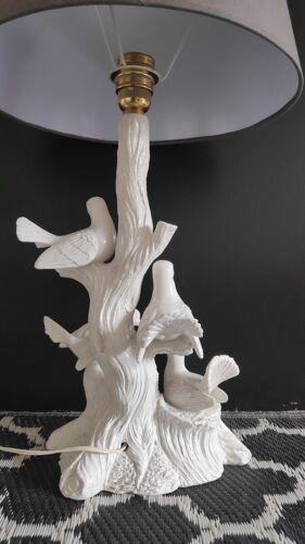 Lampe 4 colombes en céramique blanche et abat-jour gris