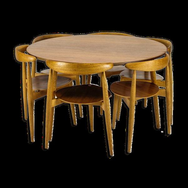 Chaises et table vintage Hans J.Wegner Heart en teck et chêne années 60