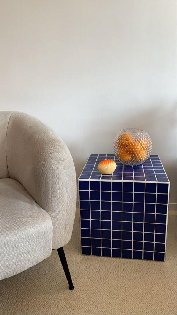 Cube bout de canapé carrelage mosaïque