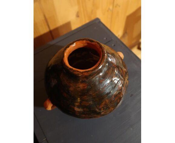Vase à oreilles terre cuite artisanal