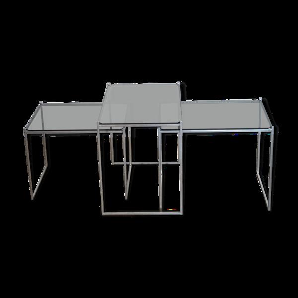 Selency Ensemble de tables basses ou gigognes metal et verre 1970