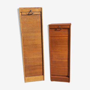 2 meubles a rideaux bois