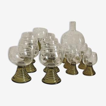 Service à vin et liqueur alsace années 30 verres avec carafe