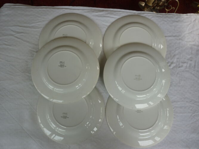 6 assiettes plate bandeau vert Digoin Sarreguemines
