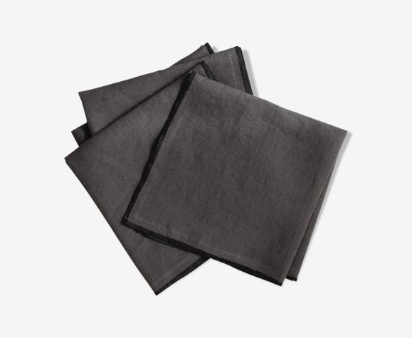 Lot de 4 serviettes anthracite en lin upcyclé