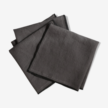 Lot of 4 towels in anthracite linen
