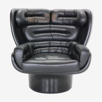"Black leather ""Elda"" swivel lounge chair Joe Colombo  for Comfort, Italy, 1960s"