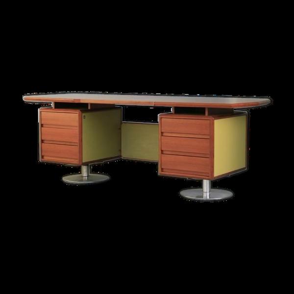 Selency Bureau 1970 design palissandre et cuir olive