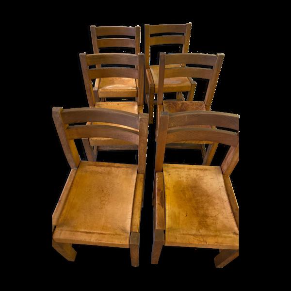 Selency 6 chaises Maison Regain bois et cuir