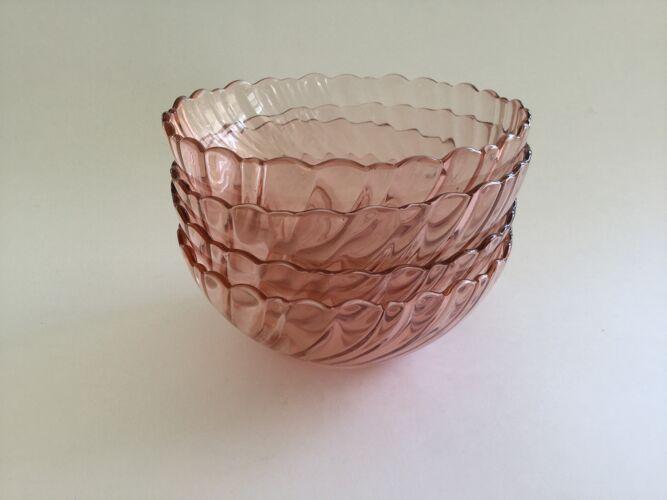 Lot de 4 coupelles verre rose