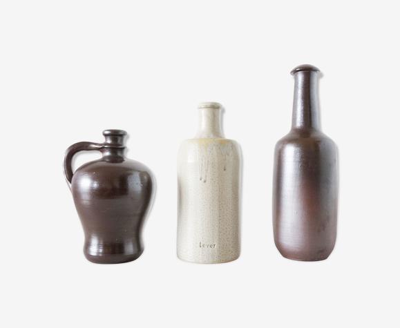 Lot de bouteilles en grès ancienne