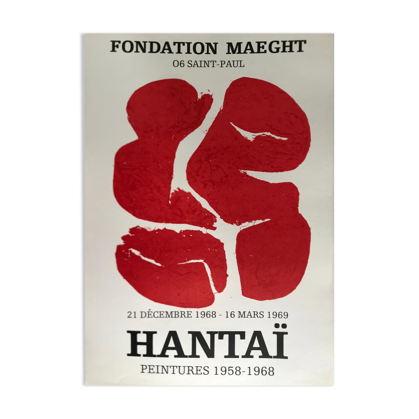 Affiche originale éditée en lithographie Simon Hantai, Fondation Maeght, 1968
