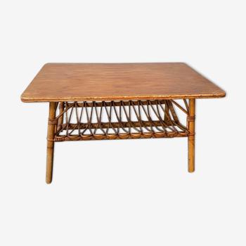 Table basse en rotin vintage années 70