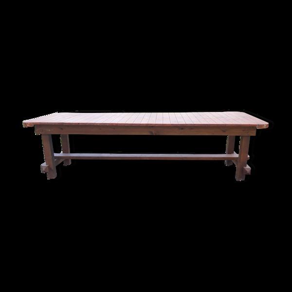 Table de ferme en pin avec entretoise