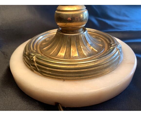 Pied de lampe à poser onyx et laiton