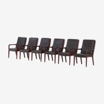 Ensemble de 6 chaises de conférence vintage en cuir brun foncé du milieu du siècle conçues par Eugen Schmidt