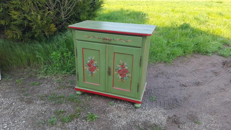 Meuble sapin 2 portes 1 tiroir peint