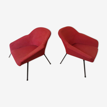 Pair of cocktail armchair year 50 60 red