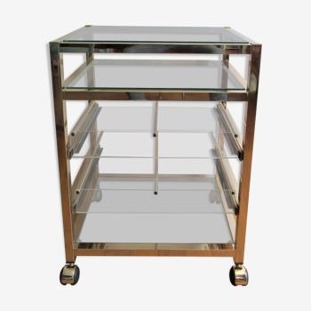 Étagère desserte métal doré verre tiroirs plexiglas design années 80