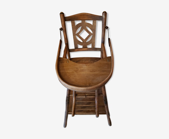 Former high-canne chair that can be transformed into wood