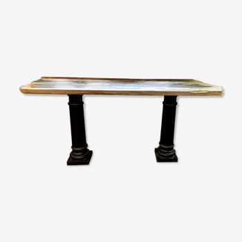 Console en bois pétrifié