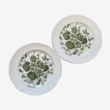 2 vintage capuchin gien dessert plates for yves rock