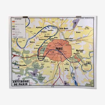 Affiche scolaire : tableau 13/14 : environs de paris/ région parisienne rossignol