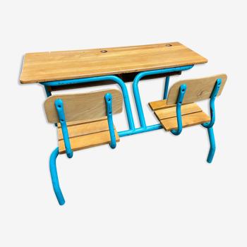 Pupitre bureau d'écolier banc vintage