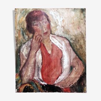 Tableau ancien 1940 portrait de femme