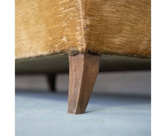Canapé 4 places velours bois années 50