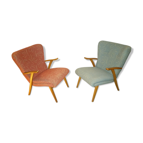 Paire de 2  fauteuils cocktails scandinave wing chair zig zag années 50/60