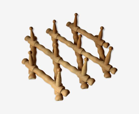 Porte-manteaux en bois extensible avec 10 crochets, millésime des années 1970