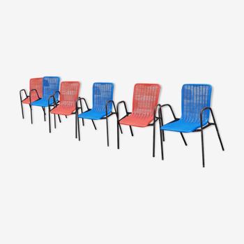 Lot de 6 chaises de cinéma de plein air années 1950