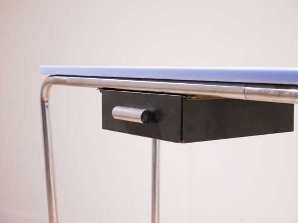 Console moderniste opaline bleue & metal tubulaire 1930s