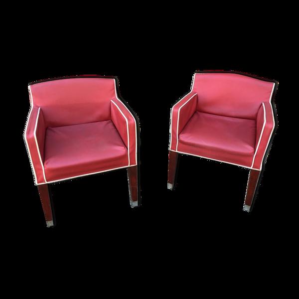 Paire de sièges vintage mid-century simili et bois