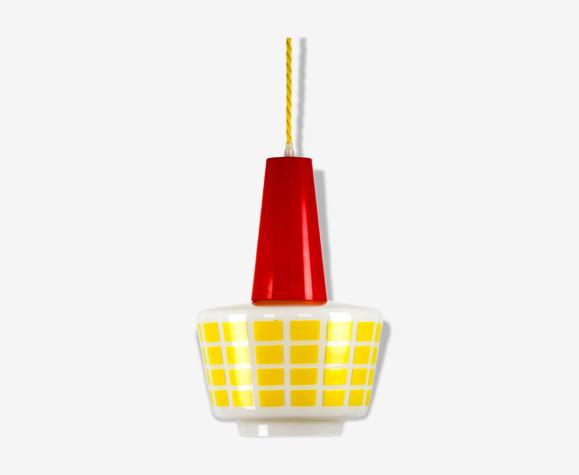 Suspension en verre rouge et jaune