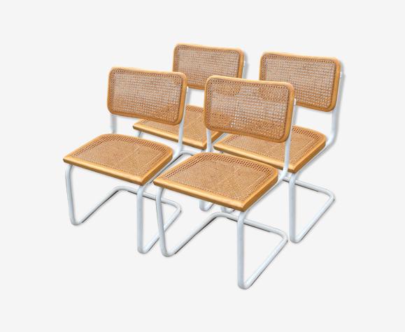 Ensemble de 4 chaises modèles Cesca de Marcel Breuer