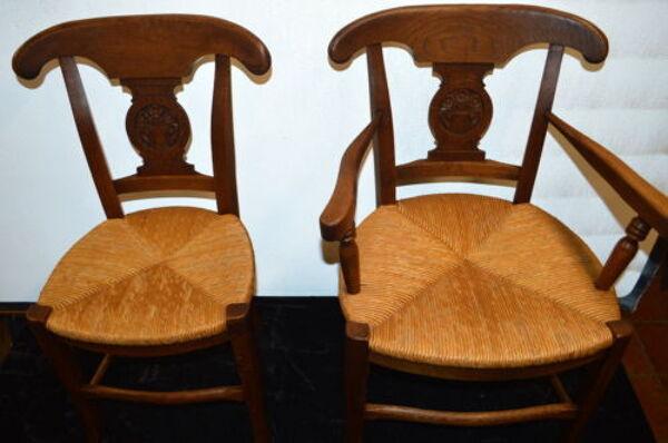 Fauteuil campagnard + chaise en chêne