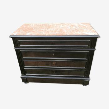 Commode en bois noirci à 5 tiroirs