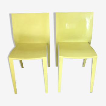 Paire de chaises de Philippe Starck  slick slick jaune