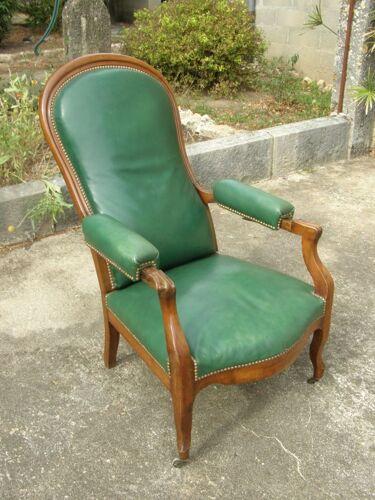 Fauteuil Voltaire en bois et simili cuir inclinable 3 positions
