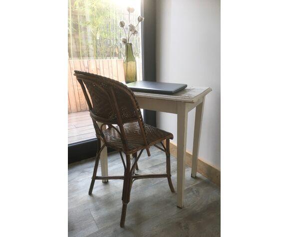 Table d'appoint bureau en bois patine blanche d'origine