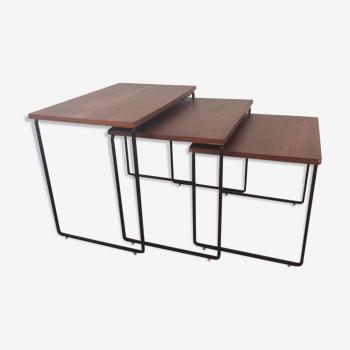 Série de 3 tables gigognes scandinaves des années 60