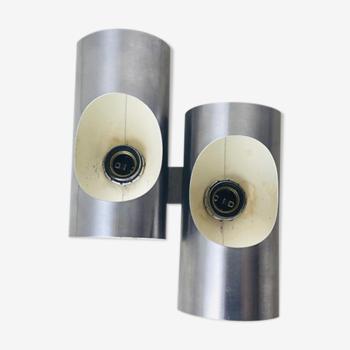 Applique double cylindrique Oxar inox design 1970