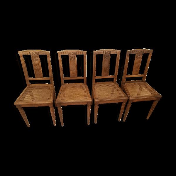 Lot de 4 anciennes chaises cannées en bois art déco