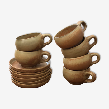 Set of 6 cups in sandstone