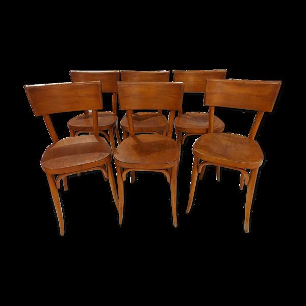 Suite de 6 chaises de bistrot baumann années 1950